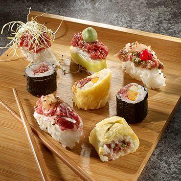 Tartare façon maki, sushi et tamagoyaki