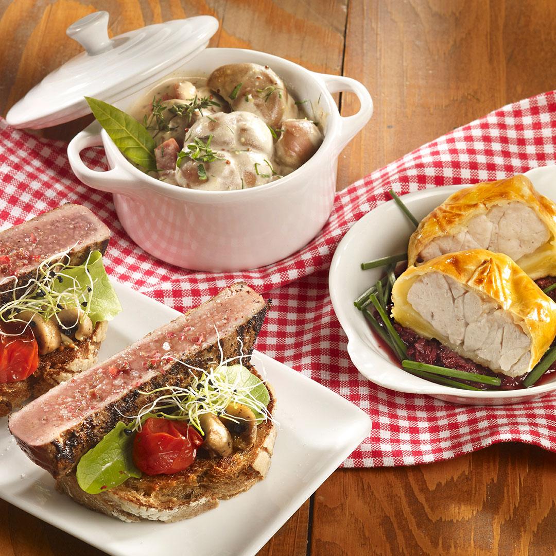 Classique de Bistrot : ris de veau en croûte grand papa, foie de veau petites canailles et rognons de veau rôtis à la graine de moutarde