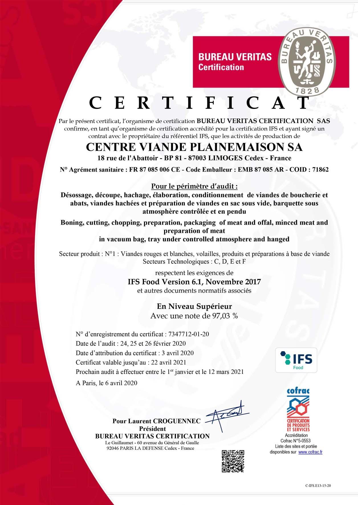 New IFS certification for CV Plainemaison
